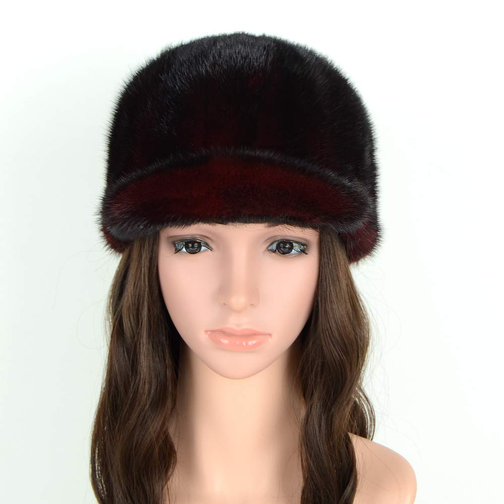 Wine Red MH Bailment Women's Baseball Caps Real Mink Fur Outdoor Hats colorful Cap Ear Predection
