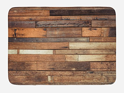 Ambesonne Wooden Bath Mat, Rustic Floor Planks Print Grungy Look Farm House Country Style Walnut Oak Grain Image, Plush Bathroom Decor Mat with Non Slip Backing, 29.5 W X 17.5 L Inches, Brown (Rustic Rugs Bathroom)