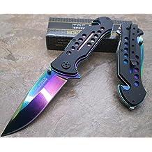 Tactical Folding Knife Rainbow Stainless Steel Blade Glass Breaker & Pocket Clip