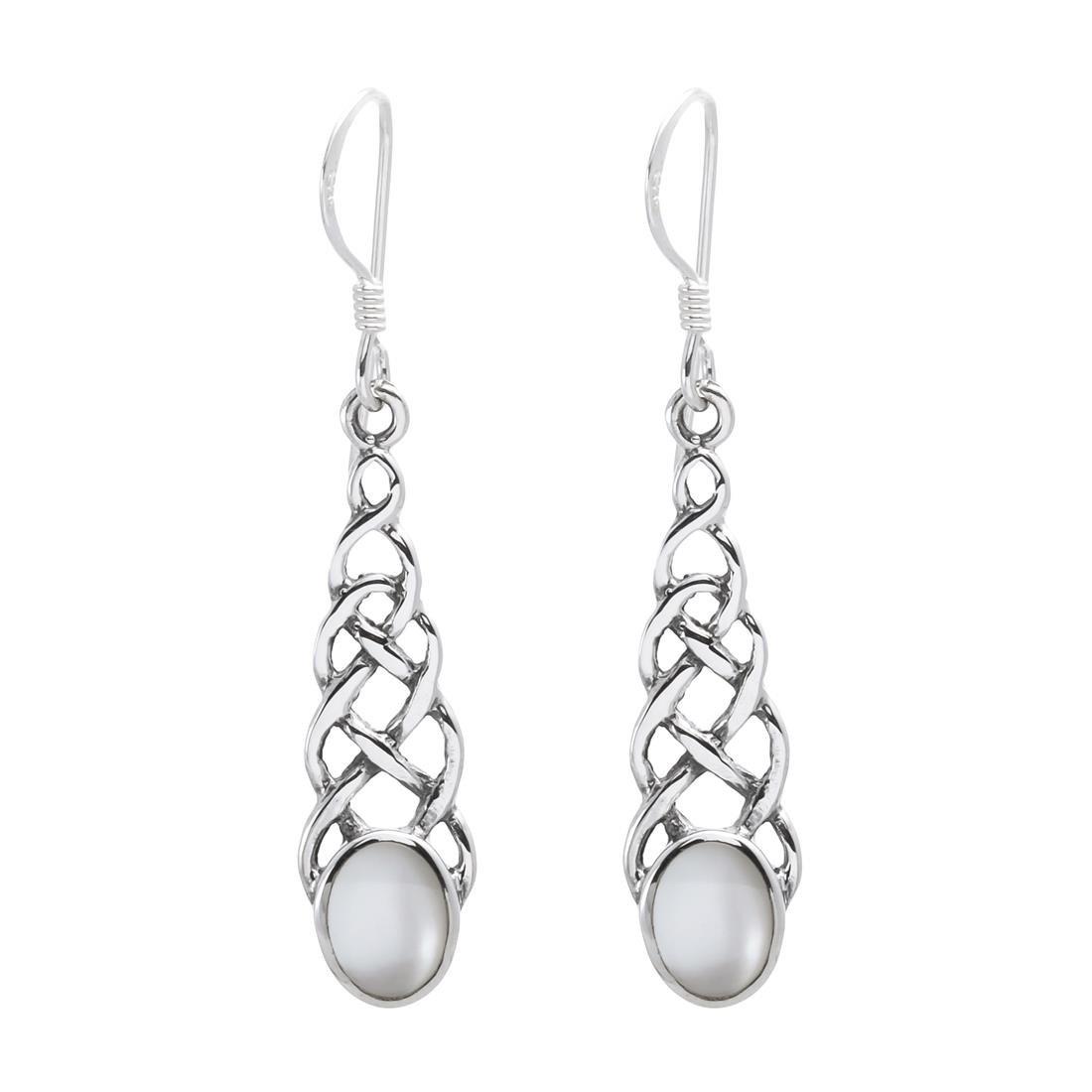 Silverly Women's .925 Sterling Silver Celtic Knot Mother of Pearl Dangle Earrings 01iiSSE129