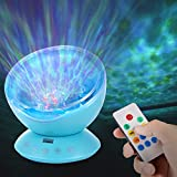 AMOUR-JOIE Ocean Wave Projector Remote Control TF Cards Music Player Speaker LED Night Light Aurora Master Projection Kids USB