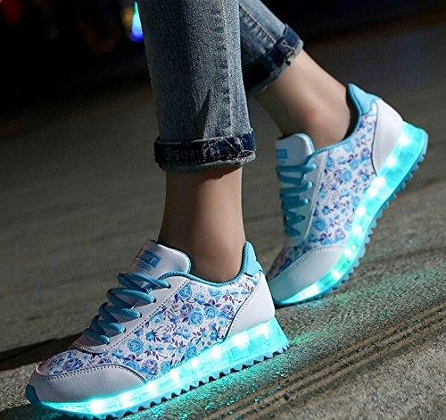 Catkit Unisexe Hommes Femmes Led Lumineux Mode Fleur Impression Sport Chaussures Clignotant Baskets Bleu
