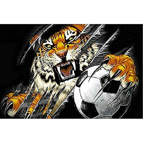Paint by Number Kits - Tiger Football 16x20 Inch Linen Canvas Paintworks - Digital Oil Painting Canvas Kits for Adults Children Kids Decorations Gifts (with Frame)
