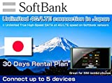 Softbank SIM Card 4G/LTE Japan Mobile WiFi Hotspot Rentals Unlimited - 30 Day