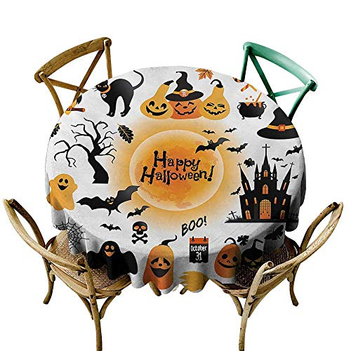 Anshesix Elegance Engineered Tablecloth Halloween All Hallows Day Objects Haunted House Owl and Trick or Treat Candy Black Cat Excellent Durability D39 Orange -