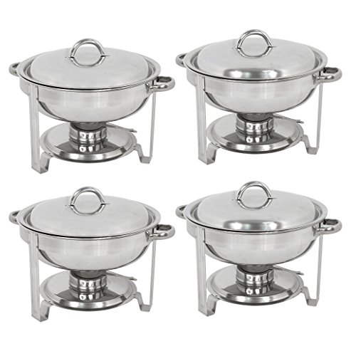 ZENY Set of 4 Round Chafing Dish 5 Quart Stainless Steel Full Size Tray Buffet Catering (4) by ZENY (Image #4)