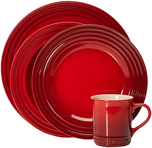 Le Creuset Stoneware 16-Piece Dinnerware Set, Cerise (Cherry Red) by Le Creuset