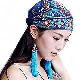 Women's Elegant Embroidered Shirred Hat Muslim Turban Fashion Beanie Cancer Chemo Cap (Blue)