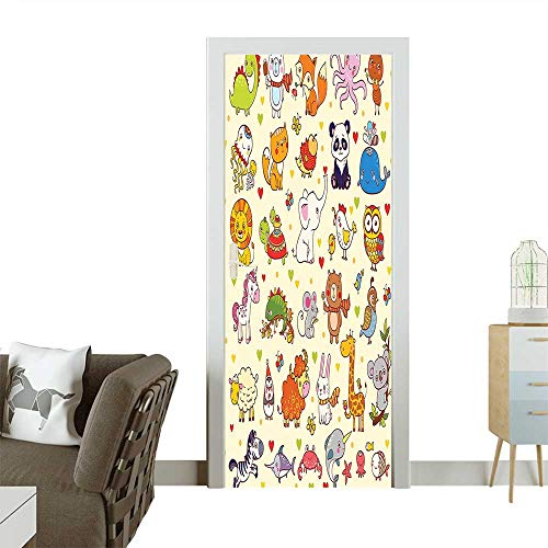 Door Sticker Wall Decals Cartoon Panda Fox Elephant Chicken Birds Mouse Nursery Children Room Cute Multicolor Easy to Peel and StickW35.4 x H78.7 INCH