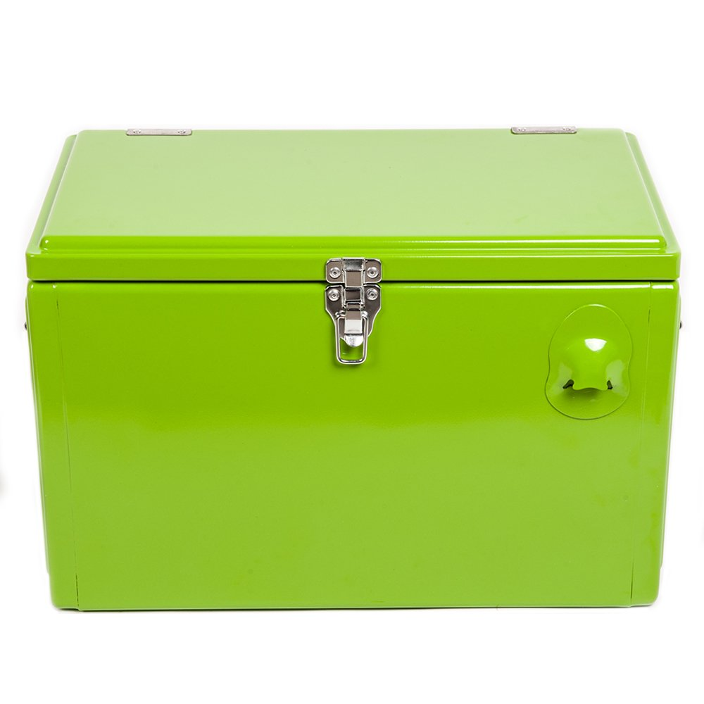 hio 20 qt retro style steel cooler box with bottle opener green ebay. Black Bedroom Furniture Sets. Home Design Ideas