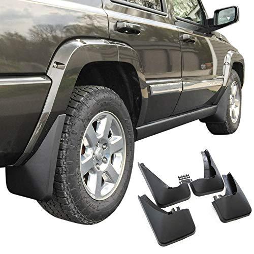 Threemom Mud Flaps Guards Splash No Running Boards 4 Pc Front Rear Fits Jeep Commander 2006-2010 (Flaps Commander Jeep Mud)