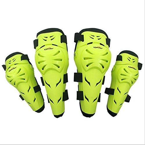 Wonzone 4Pcs Kit Motorcycle Knee Elbow Protector Motocross Racing Knee Guards Sports & Outdoors Safety Protection Knee Pads Leg Knee with Adjustable Straps Breathable (Green) (Mini Moto Racing)