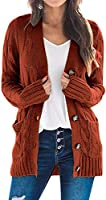 TARSE Women's Open Front Long Sleeve Cardigan Sweater Cable Knit Pocket Outwear