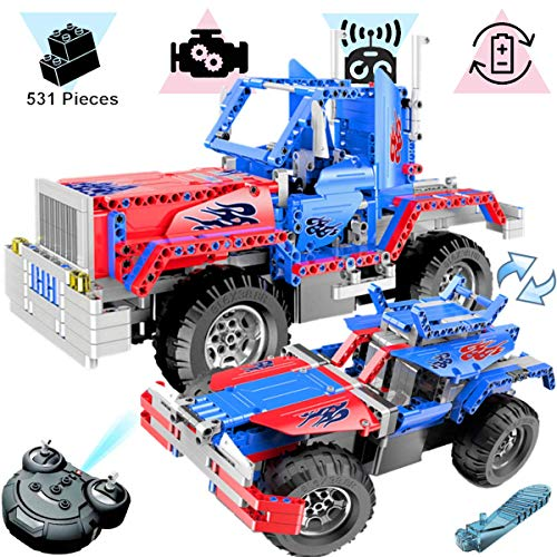 - KareFLASH 2-in-1 RC Truck-Buggy | 531 Building Blocks Compatible with Lego | Electric Engine with Charger | STEAM Toy