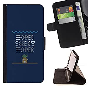 DEVIL CASE - FOR Sony Xperia M2 - Home Sweet Home Quote Art Computer Game - Style PU Leather Case Wallet Flip Stand Flap Closure Cover