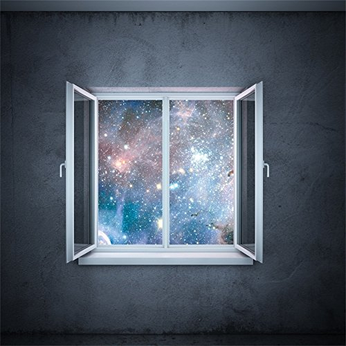 Laeacco 6x6ft Starry Night Bokeh Sparkle Spots Window Shabby Gloomy Concrete Wallpaper Backdrop Photography Background Kids Adults Photo Studio Props (Garden For Concrete Balls Walls)