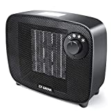 Mini TPC Ceramic Space Heater 1500 Watt, CF GROW Indoor Portable Electric Small Space Heater and Quiet Fan for Home Room Office Use, Auto Shut Off With Over-Heat & Tilt Protection, UL Listed (Black)