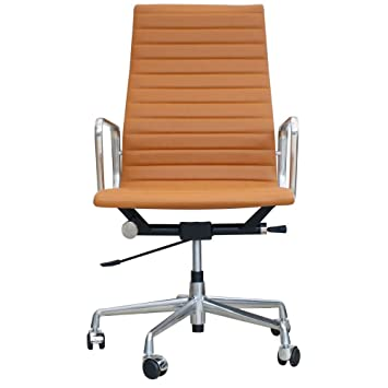 Eames Inspired High Back Ribbed Office Chair In Tan Leather