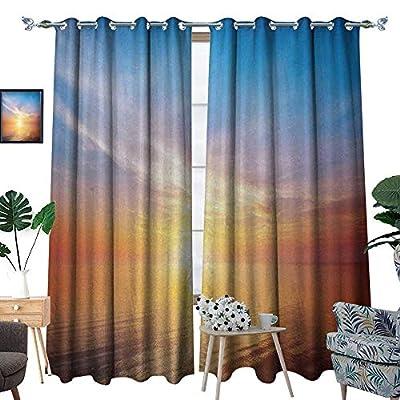 RenteriaDecor Sunrise Window Curtain Fabric Magical Horizon Seascape Bay Ocean Coastal Charm Sky Tranquil Summer Image Drapes for Living Room W72 x L96 Orange and Blue