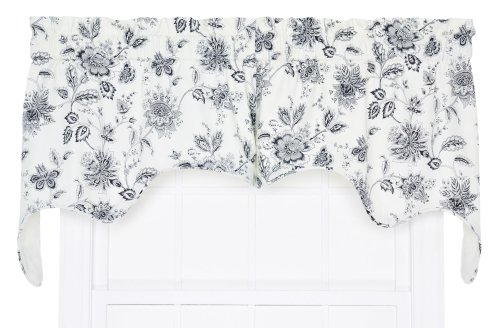 (Ellis Curtain 2-Piece Winston Monochromatic Floral Print Empress Lined Swag Valance, 70 by 28-Inch, Navy)