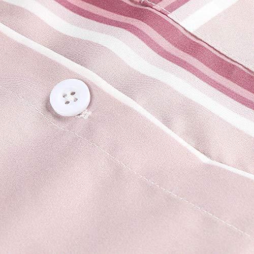Camicia Scollo Manica Donne a Camicia T a Ufficio Bottoni a Righe Righe Camicetta Top cuffed Tinta Lunga Camicetta Donne Elegante Tasca con Camicia con Camicetta con Rovinci Casuale con Stampa Rosa V Shirt 6EYwd6