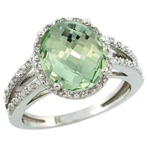 Revoni, anillo de plata de ley con verde amatista y diamantes, Piedra óvalo (11X9 mm)