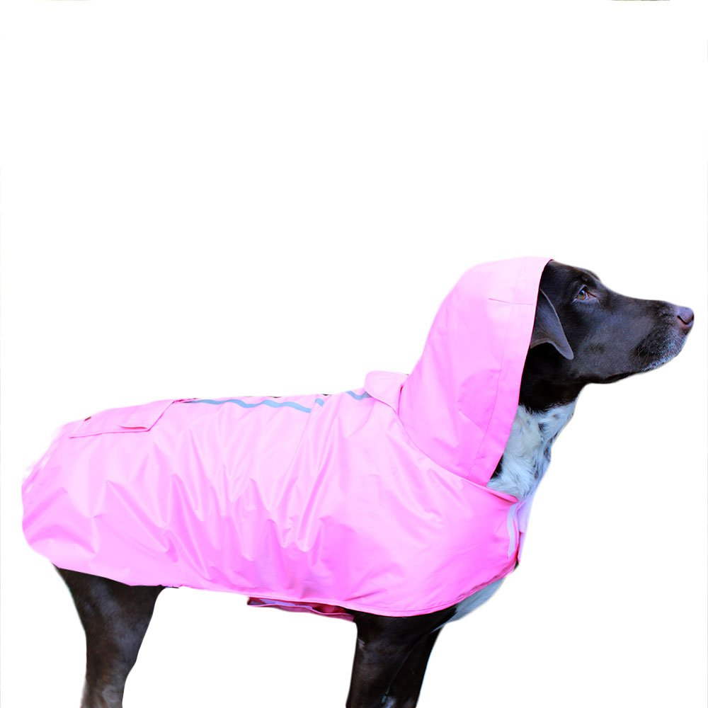 Frenchie Mini Couture Waterproof Dog Raincoat with Fleece Lining, Pink, (Medium)