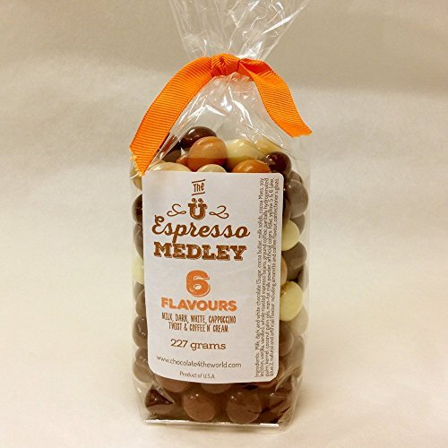 Espresso Bean Snacker featuring 6 Varieties of Chocolate-covered Espresso Beans 227gm.