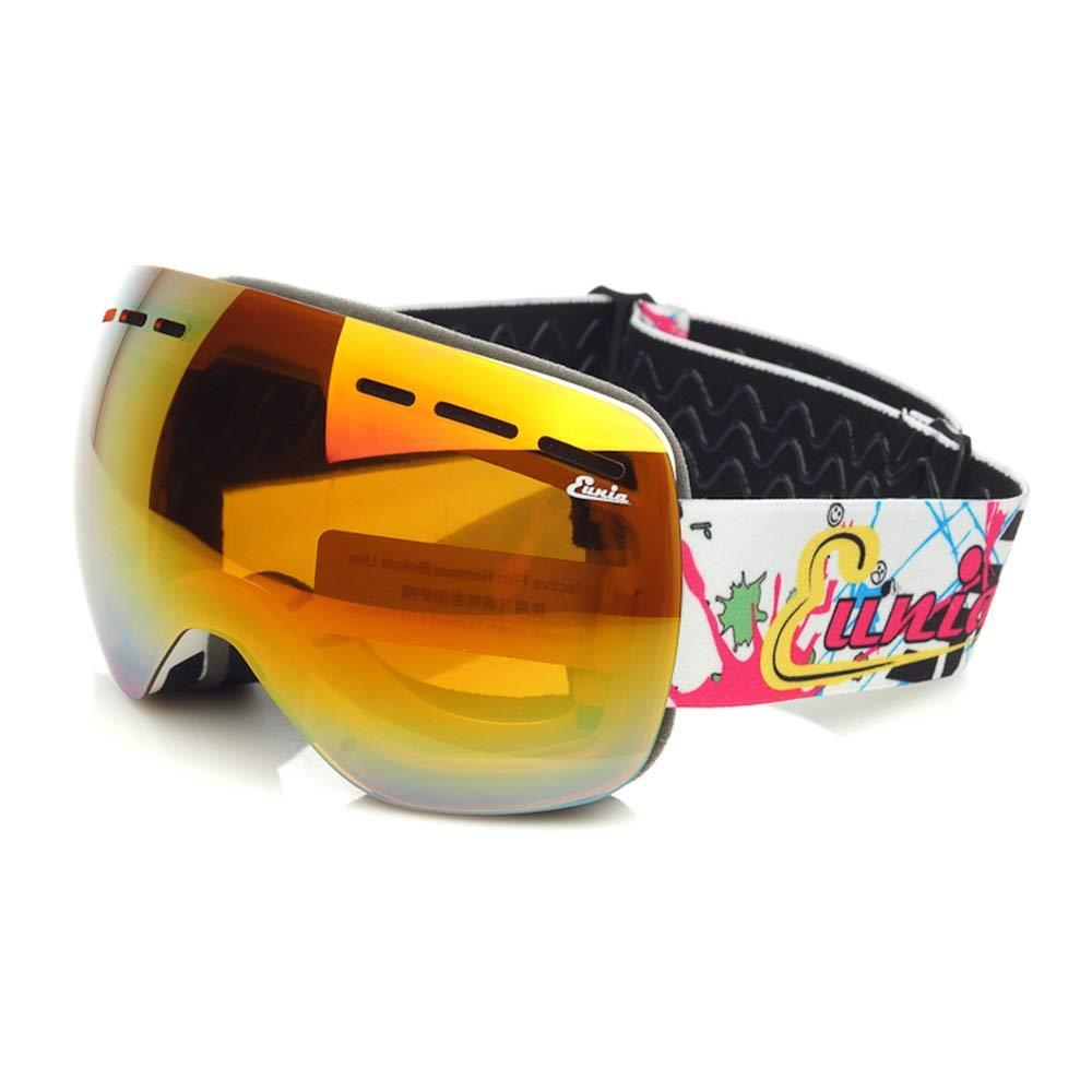 スキー用のゴーグル スキーゴーグル - PC、ダブルアンチフォグ、UVフィルター、ノンスリップヘッドバンド、近視眼鏡、子供の一般的なプロのスキーとクライミング大球の眼鏡(6色利用可能)に持ち込むことができます (色 : 白) 白