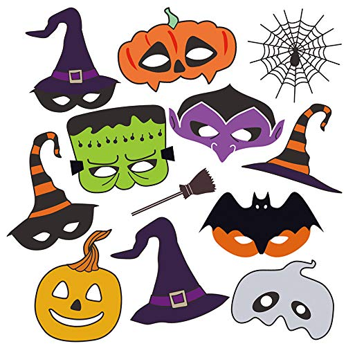 Photo Halloween 2019 (LALASTAR Halloween Photo Booth Props,Halloween Mask Party Props Decorations,12)