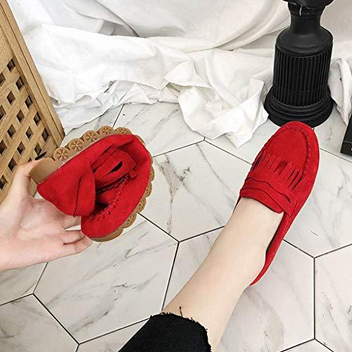 Plana Punta Zapatilla Yvelands Redonda Mujer Shoes Liquidación Casual Borla Mujeres Rojo Para Mocasín Moda Doug 1YS18qH