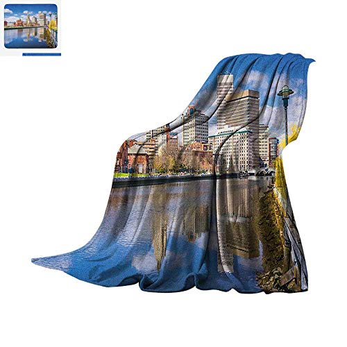 (Luoiaax United States Warm Microfiber All Season Blanket Providence Rhode Island Riverfront Spring Season Water Reflection Buildings Summer Quilt Comforter 62