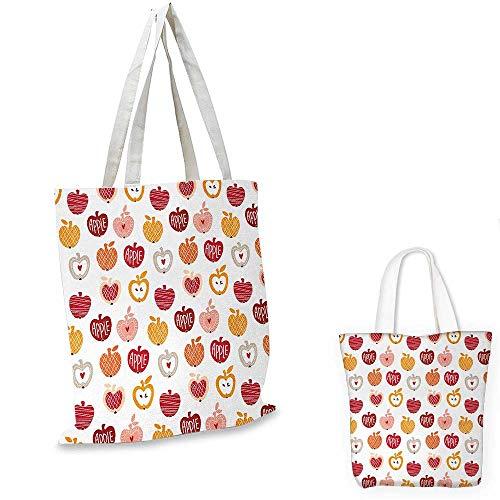 Apple fashion shopping tote bag Vegetarian Abstract Horizontal and Diagonal Line Pattern Love Natural Food Theme canvas bag shopping Amber Blush Red. 12