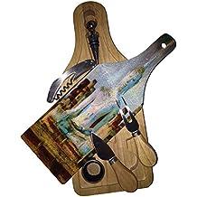 Budda of Thailand Painting - Wine Bottle Shaped Glass Cutting Board 6 Piece Wine & Cheese Gift Box Set