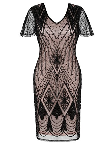 PrettyGuide Women's Gatsby Dress Bead Sequin Embellished 1920s Flapper Dress M Black Beige
