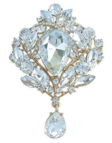 "Sindary Vintage 3.54"" Teardrop Brooch Pin Pendant Rhinestone Crystal BZ4082 (Gold-Tone Clear)"