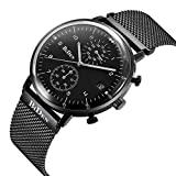 FunkyTop Black 20mm Quartz Analog Day Date Casual Mens Mesh Watch with Magnetic Stainless Steel Watch Band