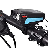 Bike Horn Light, Bike Headlight With Touch Button, Waterproof Bicycle LED Headlight With Super Loud 130 DB Bike Horn 5 Lighting Modes, 5 Horn Modes Rechargeable USB Bicycle Light Horn For Night Riding