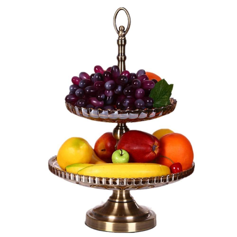 HARDY-YI ハイエンドの雰囲気シンプルポストモダンな二層クリスタルガラスフルーツボウル高級リビングルームのコーヒーテーブルの装飾用具フルーツプレート -フルーツバスケット   B07PJD9S7D