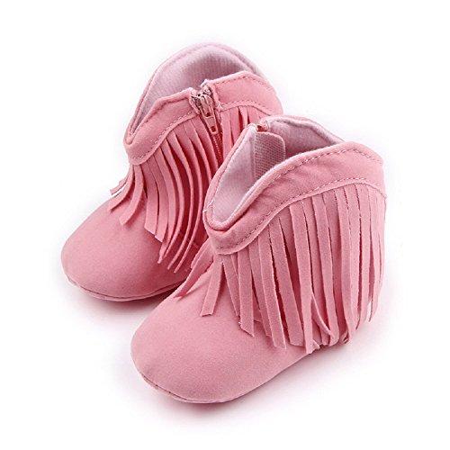 Auxma Für Baby 0-18 Monate,Babyschuhe Stiefel Weiche Sohle Schuhe prewalker (0-6 M, Beige) Rosa