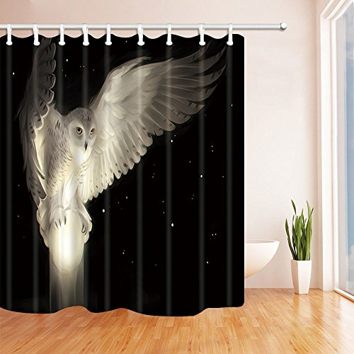 NYMB Beatutiful White Owl Flying at Night Sky and Catch A Bright Ball Bath Curtain, Polyester Fabric Waterproof Shower Curtain, 69X70 in, Shower Curtains Hooks Included, Black White(Multi6) (And White Shower Curtain Black Owl)