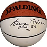 "George Mikan Hand Signed Autographed Basketball""HOF 59"" Lakers White Panel"