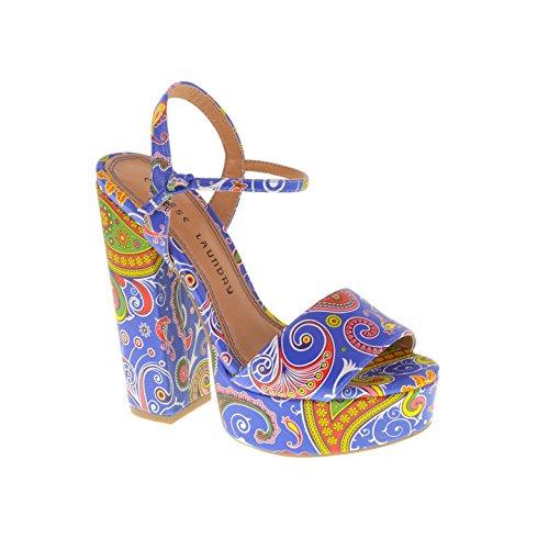 Chinese Laundry Women's ABIE PAISLEY Platform Sandal, BLUE, 10 M US