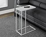 Monarch Specialties White Metal Accent Table with Frosted Tempered Glass