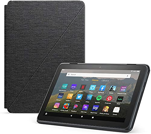 Fire HD 8 Essentials Bundle including Fire HD 8 Tablet (Black, 32GB) Ad-Supported, Amazon Standing Case (Charcoal Black), and Nupro Anti-Glare Screen Protector, and 15W fast charger