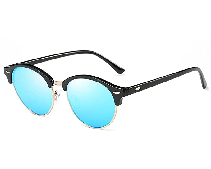 528c1ab3f60 HOHAUSA Retro Semi Rimless Half Frame Round Polarized Clubmaster Sunglasses  for Women Men (Blue Mirror