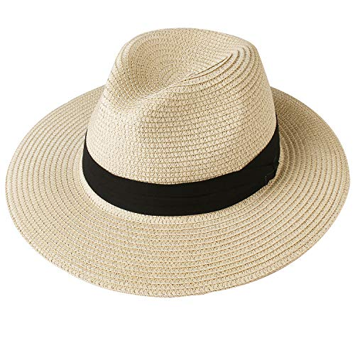 FURTALK Panama Hat Sun Hats for Women Men Wide Brim Fedora Straw Beach Hat UV UPF 50 Large Size (22.8