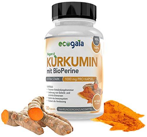 EcoGaia Curcumin mit Bioperine 1000mg - 120 vegane Kurkumin Kapseln , Turmeric - Kurkuma mit Antioxidantien