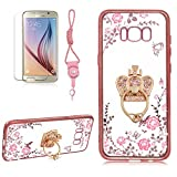 Crown Stand Ring Case For Samsung Galaxy S8 PLUS, Girlyard [Secret Garden] Electroplate Case Shiny Bling Glitter Butterfly Case Pink Floral Embossed Cover Crystal Clear Back Case, Rose Gold Edge