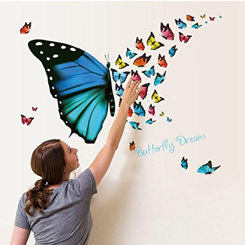 DIY Wall Sticker Colorful Butterfly Art Living Room Decors Photo background Modern